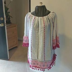 NWT Velzera Cotton Tunic Fringe Mexican Style